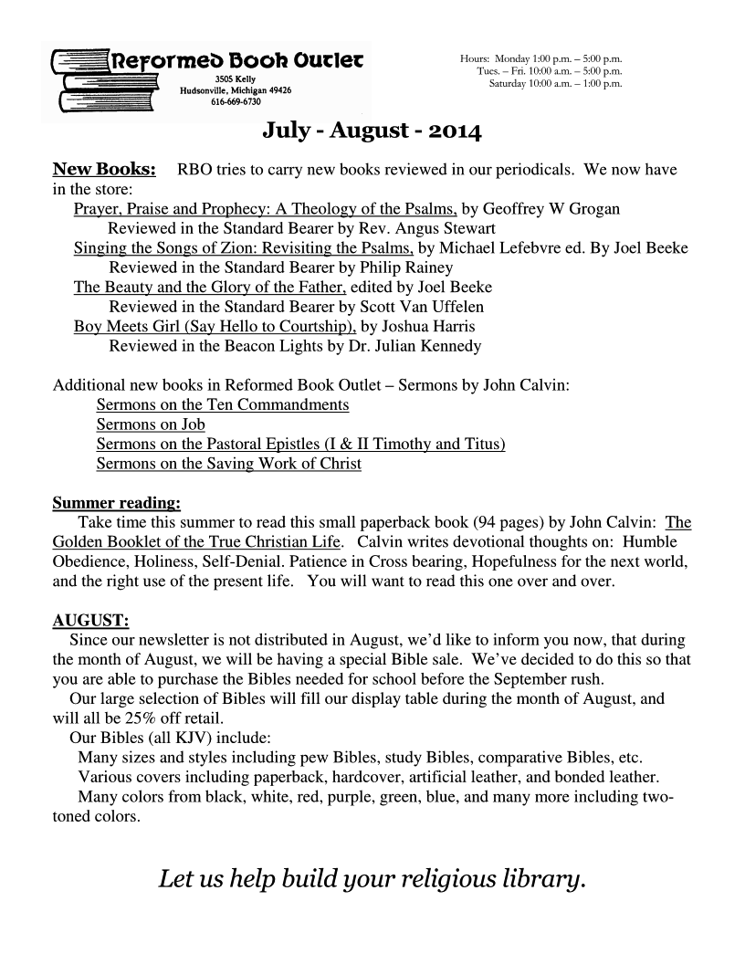 RBO Newsletter - July-August 2014 Page 1