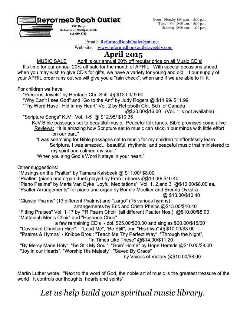 RBO Newsletter April 2015 Page 1