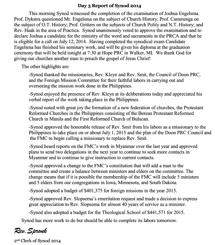 Day 3 Report of Synod 2014 Page 1