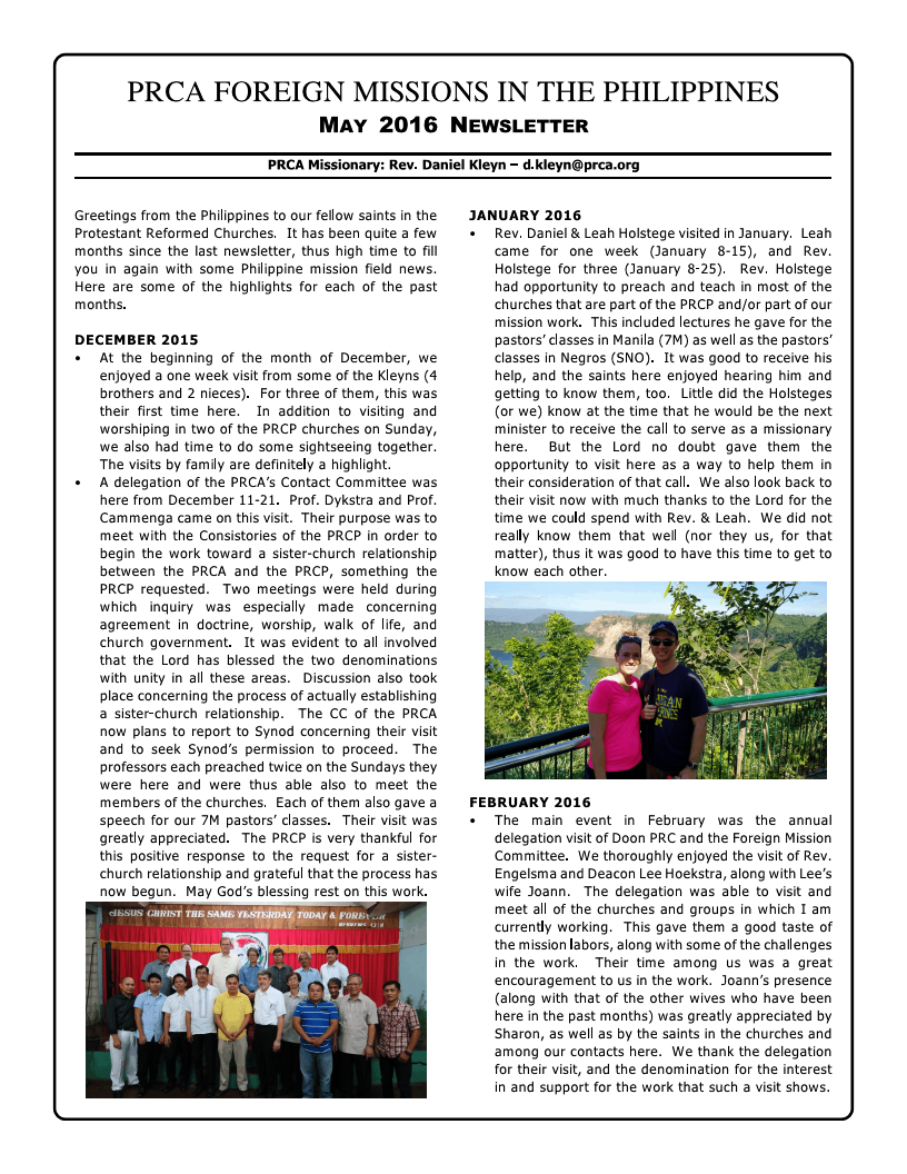 Philippines Newsletter May 2016 Page 1