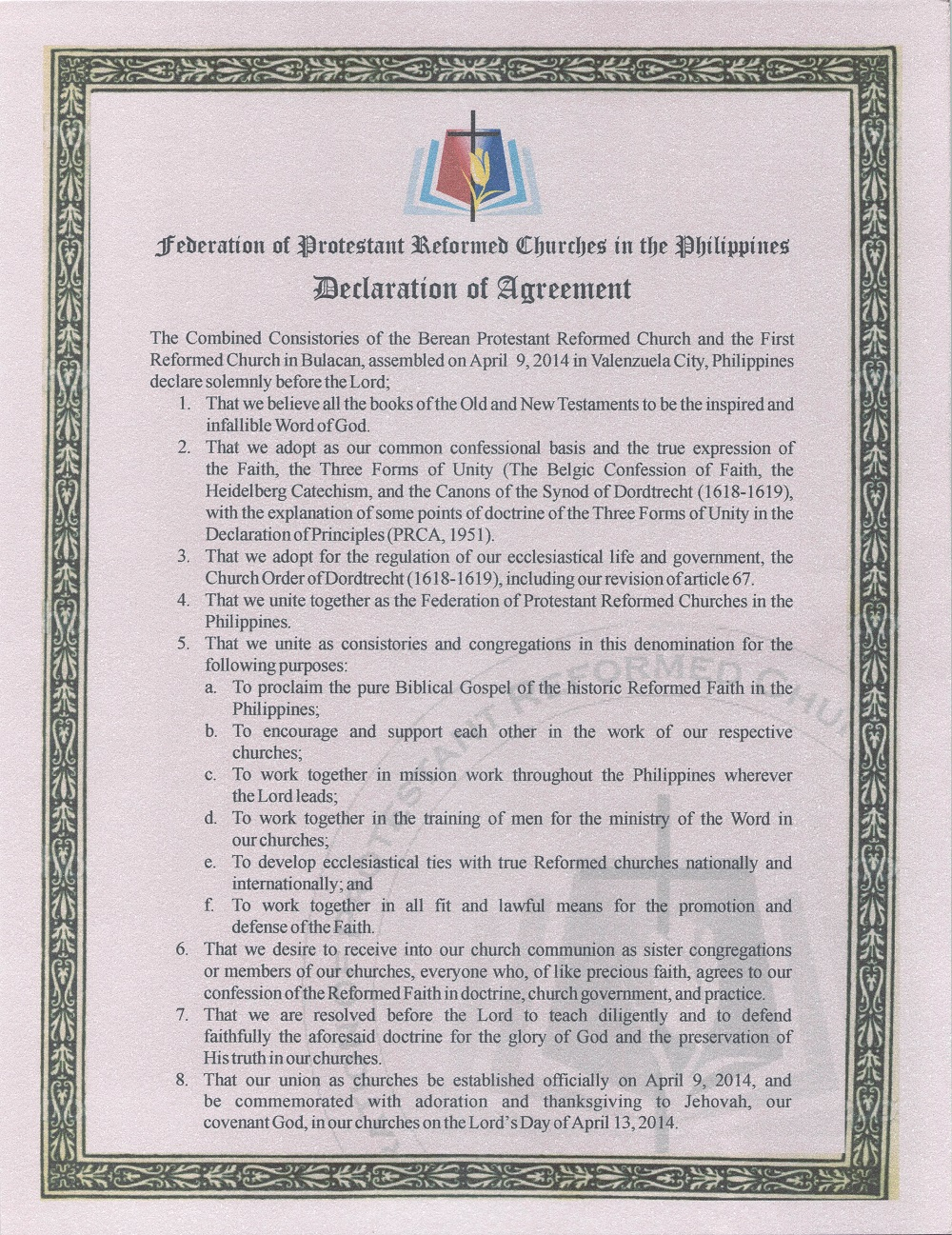 PRCP Declaration of Agreement 9 April 2014