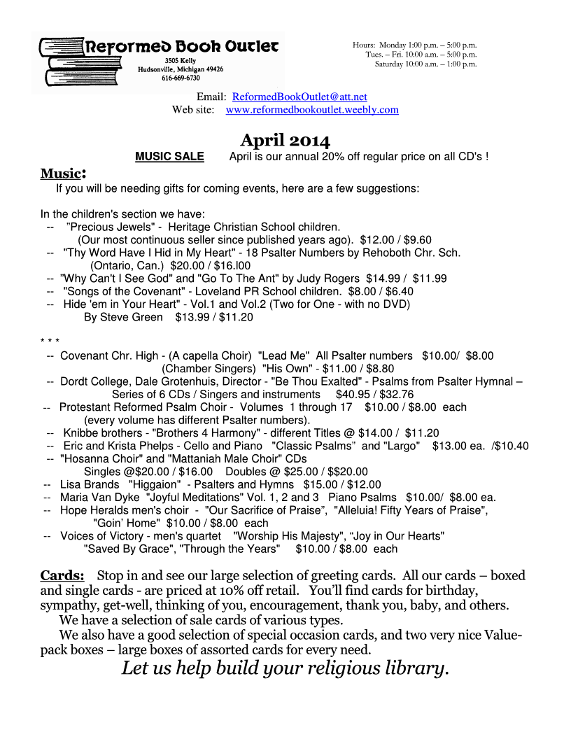 RBO Newsletter - April 2014 Page 1