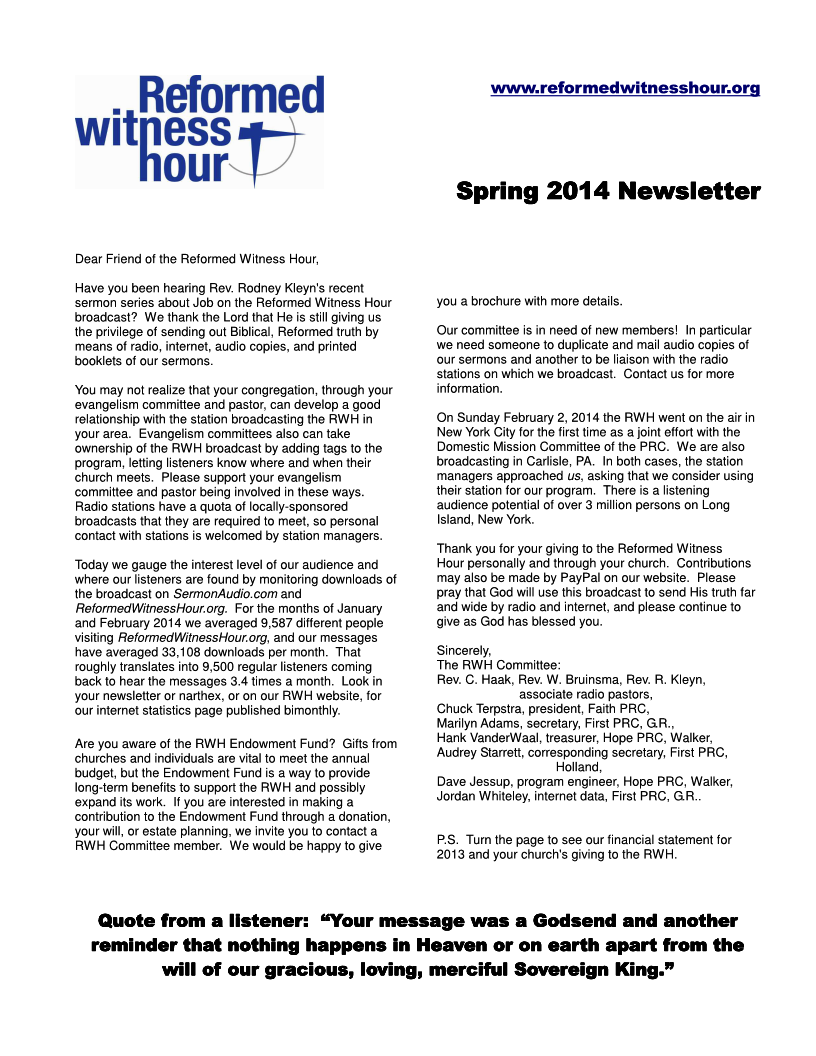 RWH Spring 2014 Newsletter Page 1