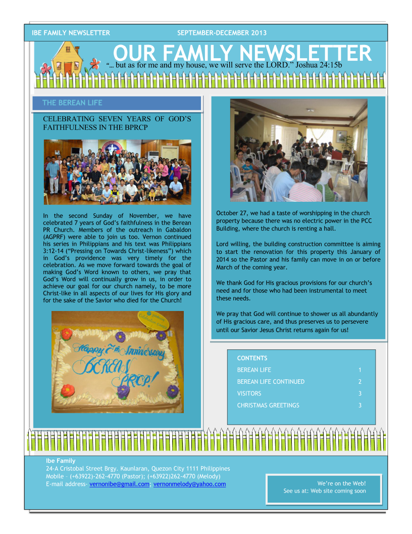 Ibe Family Newsletter-Sept-Dec 2013 Page 1