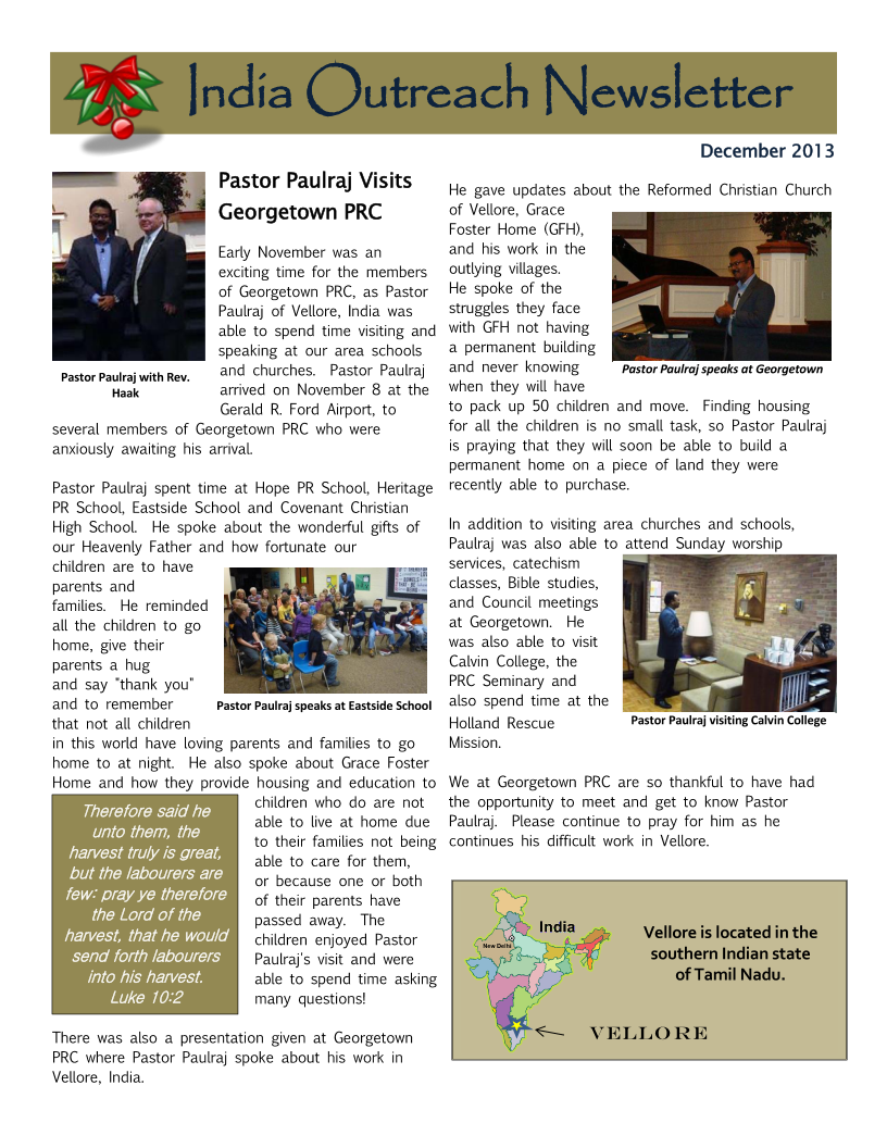 India Outreach Newsletter Dec2013 Page 1