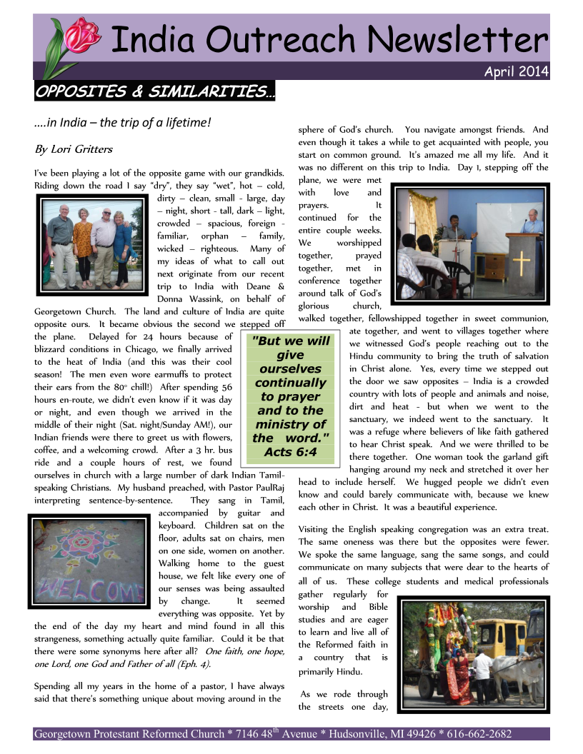 India Newsletter - April 2014 Page 1